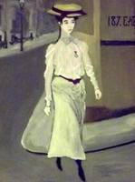 A Young Edwardian Woman Crosses The Road