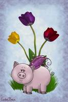 Piggy and Flowers