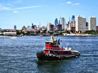 Philadelphia PA - Tugboat by Philadelphia Skyline