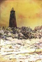 Bald Island Lighthouse watercolor painting
