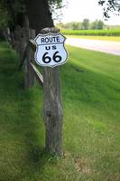 Route 66 Shield and Fence Post