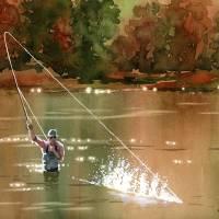 """Fly Fishing - Hooked Up III"" by k9artgallery"