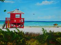 Siesta Key Red Lifeguard Stand