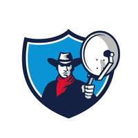 Cowboy Aiming Satellite Dish Crest Retro