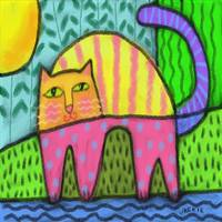 Funky Cat in the Sunshine Abstract Digital Paintin