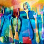 """""""Funny Kitchen Art Abstract Forks Food Fruit Art"""" by Maggy"""