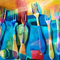 """Funny Kitchen Art Abstract Forks Food Fruit Art"" by Maggy"