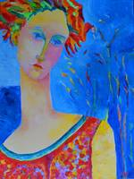 Lady Venus Woman Portrait Painting Blue Red Art