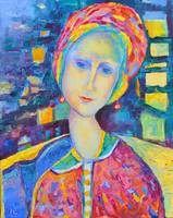 Sitting Woman Portrait after Modigliani Pink Blue