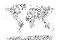 Music Notes Map of the World