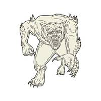 Werewolf Monster Running Mono Line