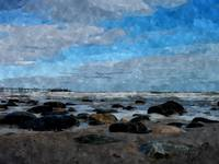 beautiful blue sky beach waves rocks art print