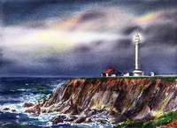 Beautiful Lighthouse Pacific Ocean Shore