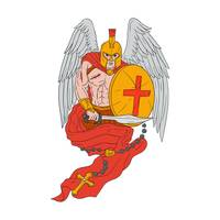 Spartan Warrior Angel Sword Rosary Drawing