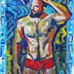 Laguna Beach Man in Red Swimsuit by RD Riccoboni
