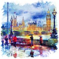 London Rain Watercolor
