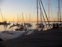 Sunset at the yachting club in Colonia