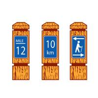 Wooden Mile Marker Signs Retro