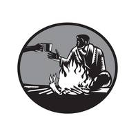 Camper Campfire Cup of Coffee Circle Woodcut
