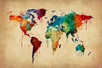 A bright and colorful watercolor world map.
