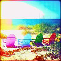 Painted Rainbow Beach Chairs