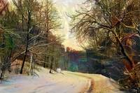 Rural road in winter forest