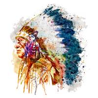 Native American Chief Side Face