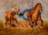 COWGIRL STEER WRESTLING
