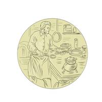 Medieval Cook Kitchen Oval Drawing`