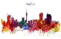 Auckland Watercolor Skyline