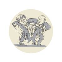 Puppeteers Fighting Over Puppet Oval Cartoon