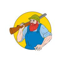 Paul Bunyan the Hunter Circle Drawing