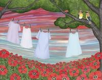 cedar waxwings, poppies, and laundry