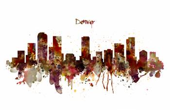 Denver Skyline Silhouette By Marian Voicu