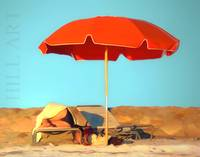 Summer Slumber Under Red Umbrella by Robin Amaral