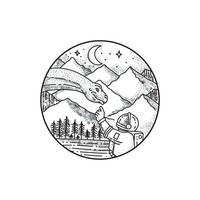 Brontosaurus Astronaut Mountain Circle Tattoo