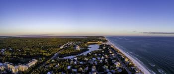 Blue Mountain Beach Sunset Aerial Panorama