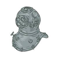 Old School Diving Helmet Drawing