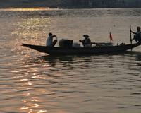 Boat On The River Ganga _ Fisherman Engaged in Fis