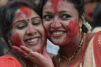 Two Women Engaged in Sindoor Khela on Bijaya Dasha