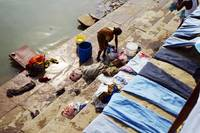 Woman at Washing Ghat in Varanasi