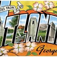 Atlanta GA Large Letter Postcard Greetings by ArtLoversOnline