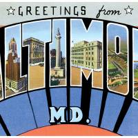 Baltimore MD Large Letter Postcard Greetings by ArtLoversOnline