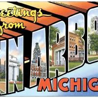 Ann Arbor MI Large Letter Postcard Greetings by ArtLoversOnline