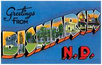 Bismarck ND Large Letter Postcard Greetings