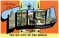 Tulsa OK Large Letter Postcard Greetings