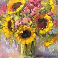 """Bright Sunflower Still Life"" by lindseytull"