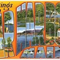 Bar Harbor ME Large Letter Postcard Greetings by ArtLoversOnline