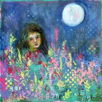 floral landscape | whimsical girl art | Moon Child