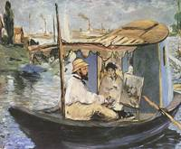 Edouard Manet Monet Painting in the Studio Boat [1